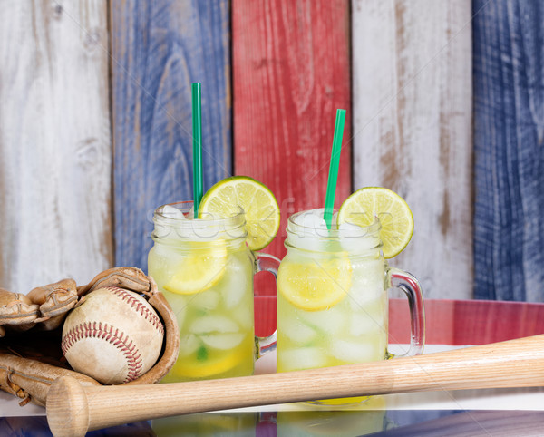 Glas koud limonade baseball jar bril Stockfoto © tab62