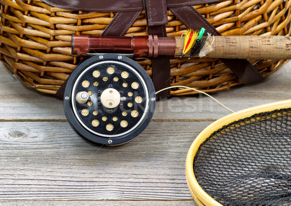 Stock photo: Fly Fishing Gear with Creel
