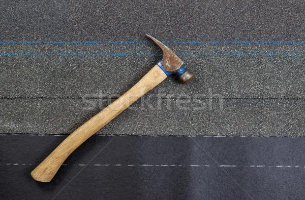 Gebruikt hamer nieuwe papier horizontaal Stockfoto © tab62