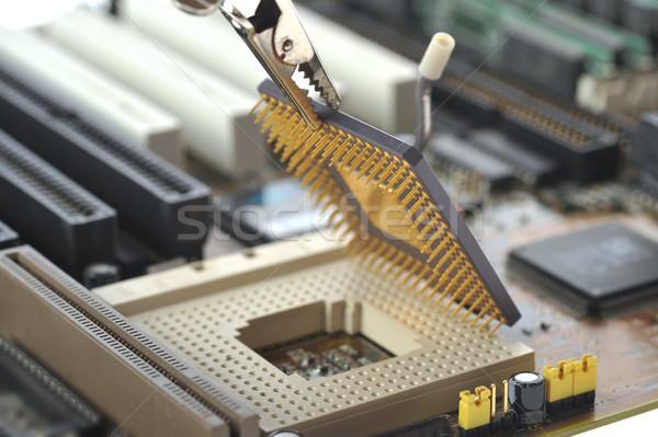 Számítógép központi processzor munka otthon technológia Stock fotó © taden