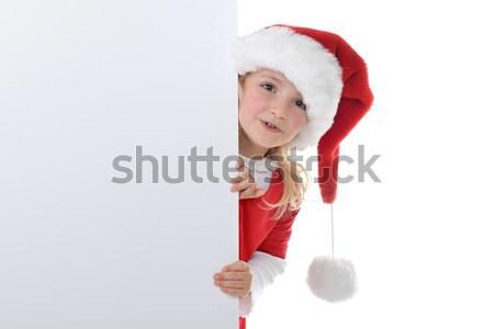 ストックフォト: サンタクロース · 帽子 · 愛らしい · ギフトボックス · 笑顔