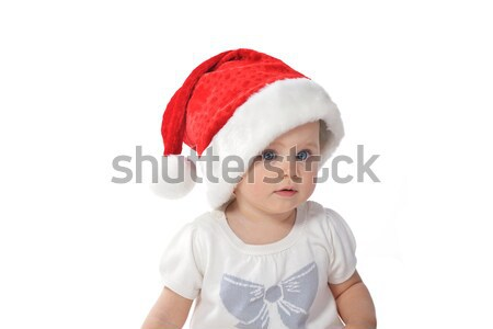 Stock photo:  baby girl in Santa hat