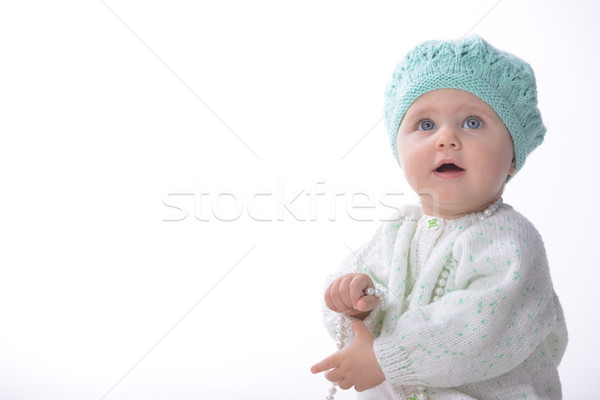 baby girl  with pearl necklace Stock photo © taden
