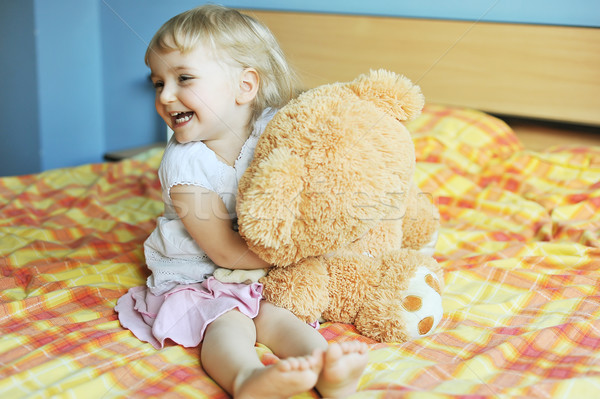 little girl with soft  toy Stock photo © taden