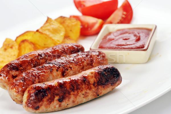Et sosis ızgara patates domates iş Stok fotoğraf © taden