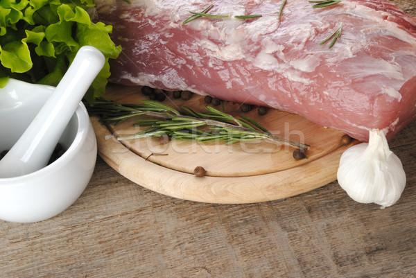 Nyers hús saláta porcelán étel háttér Stock fotó © taden