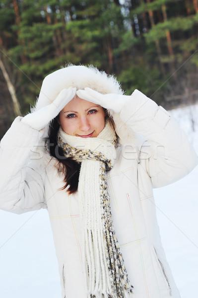 Mooie jonge vrouw winter gezicht vrouwen Stockfoto © taden
