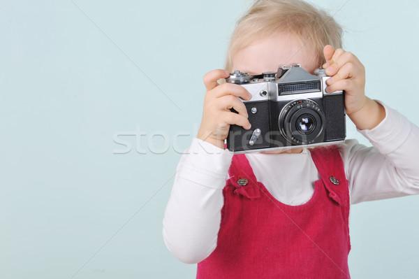 Nina edad cámara rubio nina jugar Foto stock © taden
