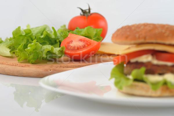 Hamburger Gemüse Gericht Tabelle Gruppe Weizen Stock foto © taden