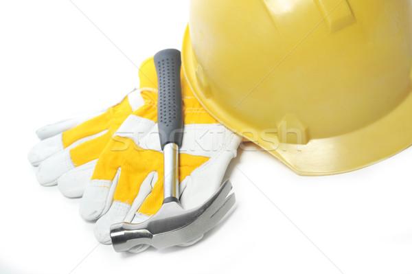 перчатки шлема молота изолированный строительство группа Сток-фото © taden