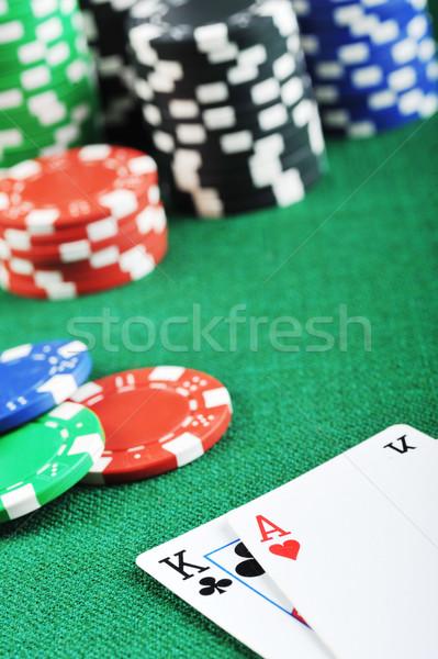 Chips tarjetas diferente color grupo rojo Foto stock © taden