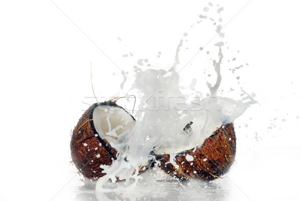 ストックフォト: ひびの入った · ココナッツ · ビッグ · スプラッシュ · 孤立した · 水