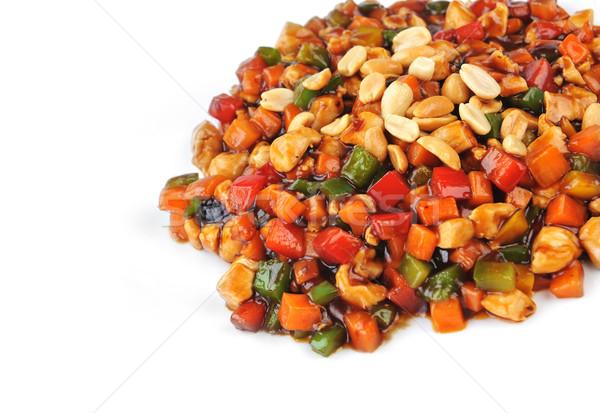 Foto stock: Al · vapor · hortalizas · carne · maní · placa · chino