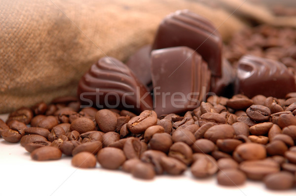coffee beans, chocolate and bag Stock photo © taden
