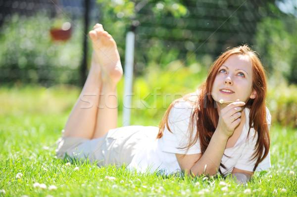 Rilassante outdoor ragazza primavera faccia Foto d'archivio © taden