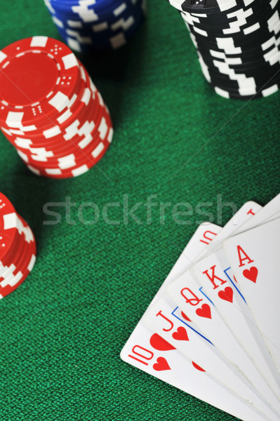 Stock photo: chips for gamblings and cards