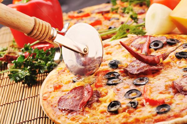 свежие пиццы продовольствие кухне обеда Сток-фото © taden
