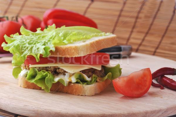 サンドイッチ 野菜 嘘 プレート 食品 キッチン ストックフォト © taden