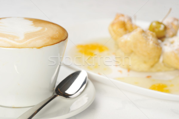 Stock photo: cake  with  syrup and coffee
