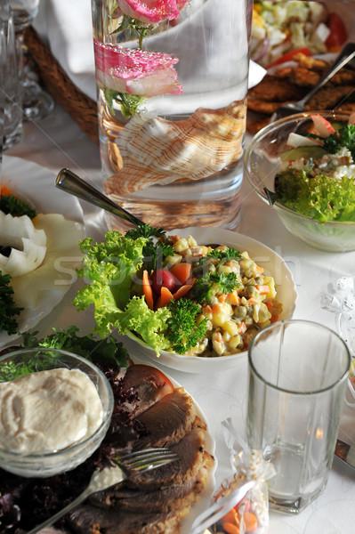 Tablo gıda içmek gala resepsiyon toplantı Stok fotoğraf © taden