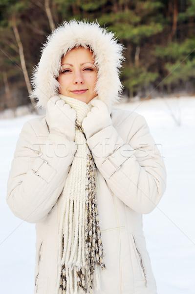 Csinos fiatal nő visel tél nők erdő Stock fotó © taden