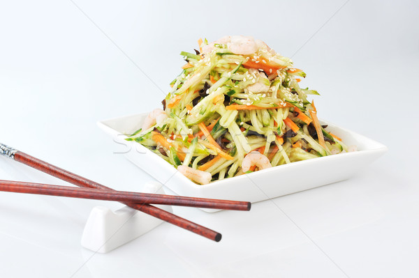 asian salad served on plate isolated on white Stock photo © taden