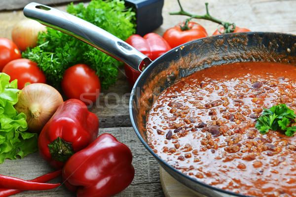 Stok fotoğraf: Sıcak · çili · tava · hazır · gıda · peynir
