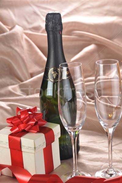 Stockfoto: Geschenkdoos · champagne · papier · bruiloft · steeg