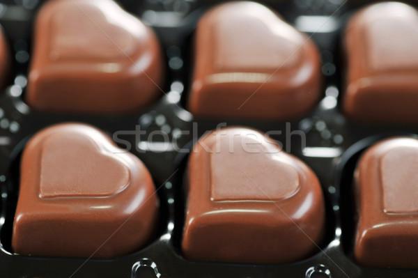 çikolata kutu kalp şekli lezzetli kâğıt Stok fotoğraf © taden