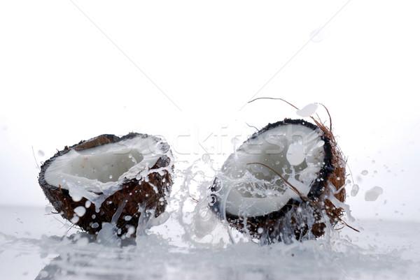 Сток-фото: треснувший · кокосового · большой · всплеск · фрукты · лет