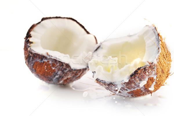 треснувший кокосового всплеск большой продовольствие лист Сток-фото © taden