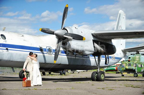 Sposa lo sposo volare wedding viaggio fiore Foto d'archivio © taden