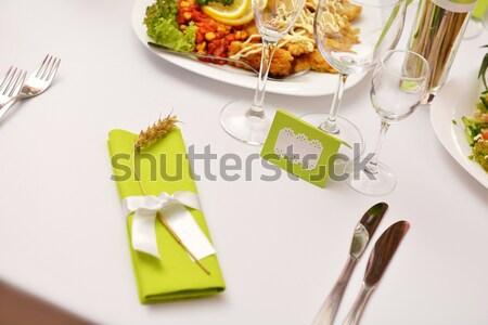 Tabela mesa de jantar jantar restaurante pormenor conjunto Foto stock © taden