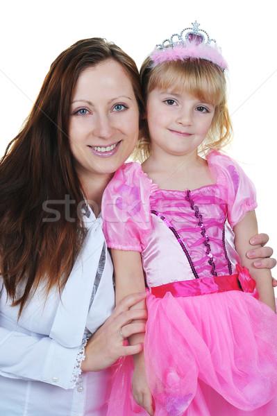 Foto stock: Menina · mãe · little · girl · princesa · rosa · crianças