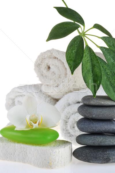 Stockfoto: Handdoek · groene · zeep · stenen · witte · gezondheid