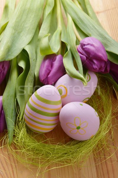 Paskalya yumurtası lâle renkli boyalı buket Paskalya Stok fotoğraf © taden