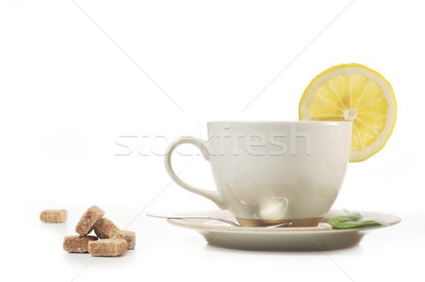 Fincan çay tok limon şeker ev Stok fotoğraf © taden