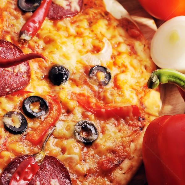 Stockfoto: Smakelijk · pizza · groenten · voedsel