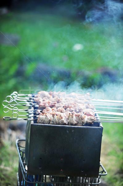 Hús szeletek előkészítés mártás tűz fű Stock fotó © taden