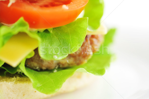 Stock photo: hamburger with vegetables  close up