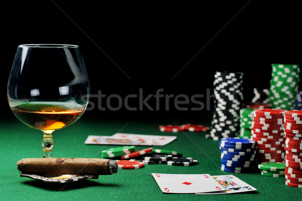 drink and playing cards Stock photo © taden