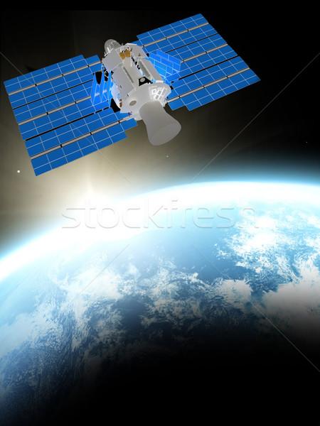 Dünya gezegeni mavi uydu uzay iş su Stok fotoğraf © taden