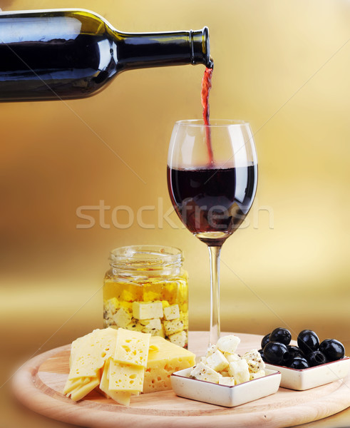 Stockfoto: Rode · wijn · wijnglas · kaas · olijven · wijn · keuken