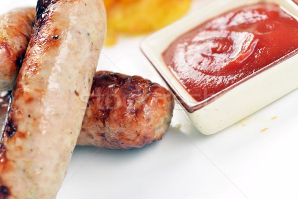 Fleisch Würstchen gegrilltes Fleisch Kartoffeln Tomaten Business Stock foto © taden