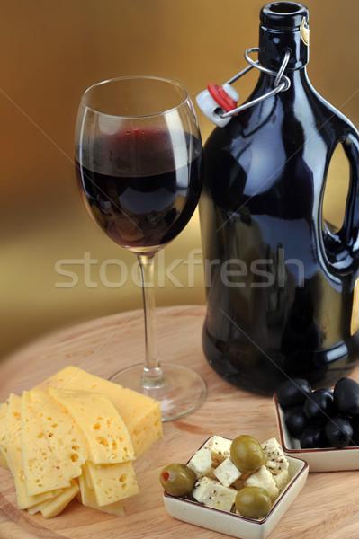 Butelkę wina ser złota szkła kuchnia tabeli Zdjęcia stock © taden