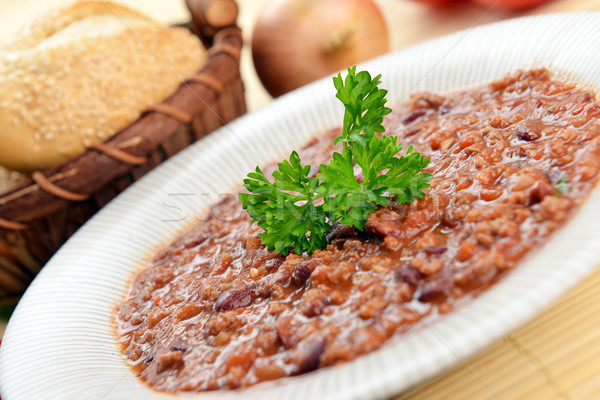 Quente pimenta tigela feijões cesta Foto stock © taden