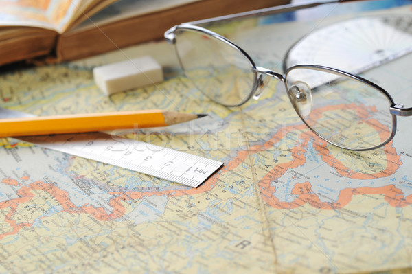 map and  glasses Stock photo © taden
