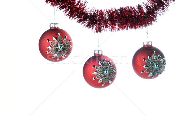 クリスマス 赤 花輪 雪 ストックフォト © taden