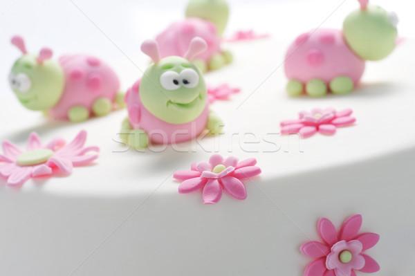 Geburtstagskuchen weiß Kuchen Stil Sahne Zucker Stock foto © taden