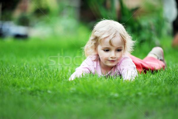 女の子 リラックス 草 少女 顔 美 ストックフォト © taden